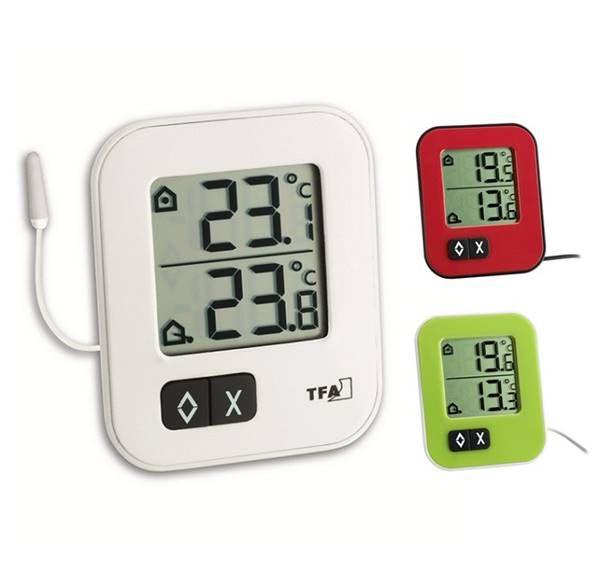 TFA Moxx digitales Innen-Außen-Thermometer in weiß, grün und rot
