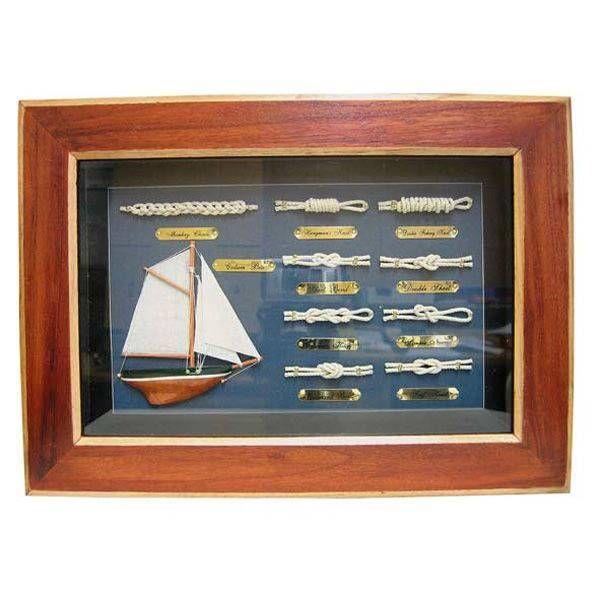 Knotentafel hinter Glas Segelschiff