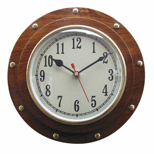 Uhr im Bullauge Holz 23cm