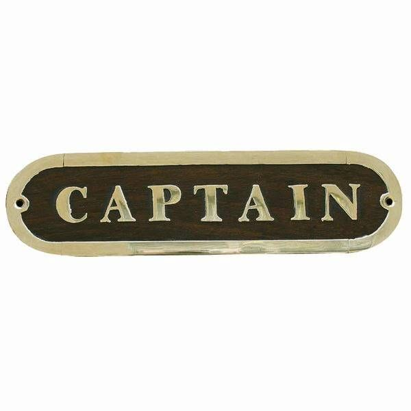 Türschild Captain Holz/Messing