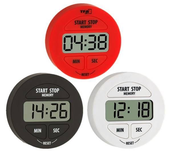TFA Elektronischer Timer und Stoppuhr in schwarz, weiß und rot