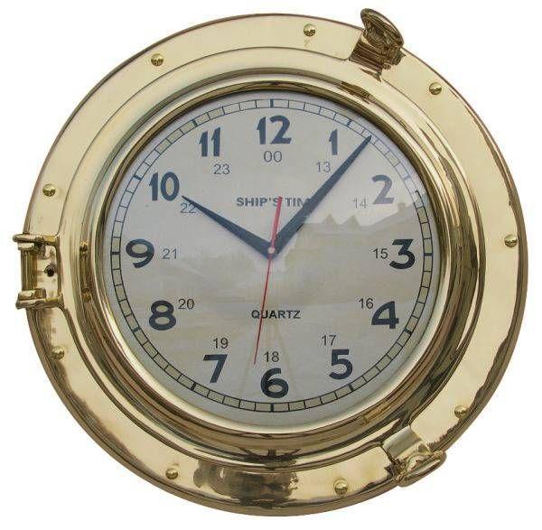 Uhr im Bullauge Messing 28cm