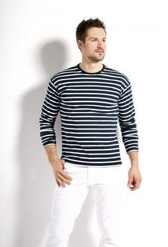Bretonische Langarmshirt blau/weiß